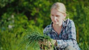 Γυναίκα που κρατά τα πράσινα κρεμμύδια από τον κήπο της απόθεμα βίντεο
