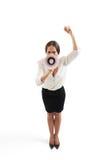 Γυναίκα που κραυγάζει με megaphone Στοκ Φωτογραφία