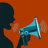 Γυναίκα που κραυγάζει megaphone Αναταραχή, επίδειξη Στοκ εικόνα με δικαίωμα ελεύθερης χρήσης