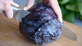 Γυναίκα που κόβει το κόκκινο λάχανο φιλμ μικρού μήκους