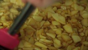 Γυναίκα που μαγειρεύει και που αναμιγνύει τα συστατικά για την πίτα μήλων απόθεμα βίντεο