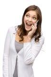 Γυναίκα που μιλά στο τηλέφωνο κυττάρων Στοκ εικόνες με δικαίωμα ελεύθερης χρήσης