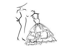 Γυναίκα που ντύνει επάνω ελάχιστο απλό διανυσματική απεικόνιση