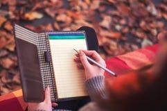Γυναίκα που παίρνει τις σημειώσεις σε ένα μαξιλάρι Στοκ εικόνες με δικαίωμα ελεύθερης χρήσης