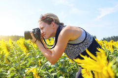 Γυναίκα που παίρνει τις φωτογραφίες του τομέα ηλίανθων Στοκ Φωτογραφίες