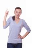 Γυναίκα που παρουσιάζει δάχτυλο στοκ φωτογραφίες