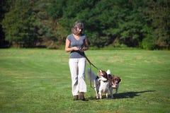 Γυναίκα που περπατά με τα σκυλιά στο λουρί Στοκ φωτογραφία με δικαίωμα ελεύθερης χρήσης