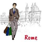 Γυναίκα που περπατά στη Ρώμη διανυσματική απεικόνιση