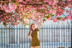 Γυναίκα που περπατά στο Παρίσι μια ημέρα άνοιξη στοκ εικόνες με δικαίωμα ελεύθερης χρήσης