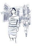 Γυναίκα που περπατά στο Παρίσι διανυσματική απεικόνιση