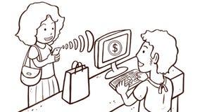 Γυναίκα που πληρώνει τα προϊόντα με το τηλέφωνο †«που απομονώνεται στο άσπρο υπόβαθρο Στοκ Εικόνες