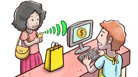Γυναίκα που πληρώνει τα προϊόντα με το τηλέφωνο †«που απομονώνεται στο άσπρο υπόβαθρο Στοκ Φωτογραφία