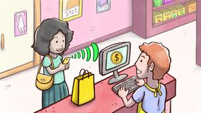 Γυναίκα που πληρώνει τα προϊόντα με το τηλέφωνο σε ένα κατάστημα Στοκ φωτογραφίες με δικαίωμα ελεύθερης χρήσης