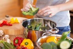 Γυναίκα που προετοιμάζει το υγιές γεύμα Στοκ Φωτογραφίες