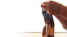 Γυναίκα που πλέκει: χέρια με το ηλιόλουστο υπόβαθρο ημέρας απόθεμα βίντεο
