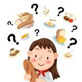Γυναίκα που σκέφτεται τι για να μαγειρεψει απεικόνιση αποθεμάτων