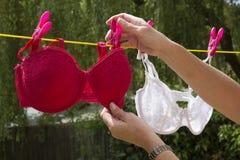 Γυναίκα που στερεώνει την πλύση στη γραμμή ενδυμάτων Στοκ εικόνα με δικαίωμα ελεύθερης χρήσης