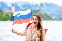 Γυναίκα που ταξιδεύει αιμορραγημένος, Σλοβενία Στοκ φωτογραφία με δικαίωμα ελεύθερης χρήσης