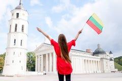 Γυναίκα που ταξιδεύει σε Vilnius Στοκ Φωτογραφίες