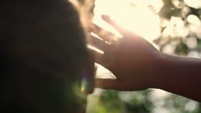 Γυναίκα που φαίνεται μακρινό κρύψιμο τρόπων από τον ήλιο απόθεμα βίντεο