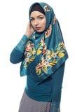Γυναίκα που φορά πράσινο Hijab Στοκ Εικόνα