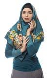 Γυναίκα που φορά πράσινο Hijab Στοκ Φωτογραφία