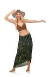 Γυναίκα που φορά το καπέλο κάουμποϋ που απομονώνεται Στοκ Εικόνα