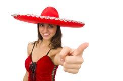 Γυναίκα που φορά το κόκκινο σομπρέρο Στοκ φωτογραφία με δικαίωμα ελεύθερης χρήσης