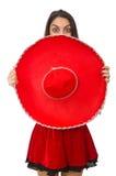 Γυναίκα που φορά το κόκκινο σομπρέρο Στοκ φωτογραφίες με δικαίωμα ελεύθερης χρήσης