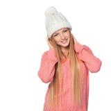 Γυναίκα που φορά το μάλλινα καπέλο και το πουλόβερ Στοκ φωτογραφίες με δικαίωμα ελεύθερης χρήσης