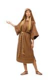 Γυναίκα που φορά το μεσαιωνικό αραβικό ιματισμό στο λευκό Στοκ Εικόνες
