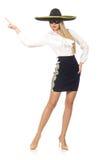 Γυναίκα που φορά το σομπρέρο Στοκ Εικόνες