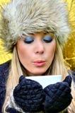 Γυναίκα που φυσά ένα φλυτζάνι του τσαγιού Στοκ εικόνα με δικαίωμα ελεύθερης χρήσης