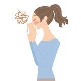 Γυναίκα που φυσά τη μύτη της διανυσματική απεικόνιση