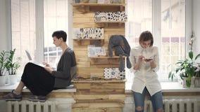 Γυναίκα που χρησιμοποιεί από κινητό Συνεδρίαση σπουδαστών γυναικών στη στρωματοειδή φλέβα παραθύρων και χρησιμοποίηση του lap-top απόθεμα βίντεο