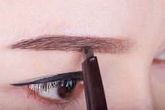 Γυναίκα που χρησιμοποιεί το φρύδι μολυβιών makeup στοκ φωτογραφία