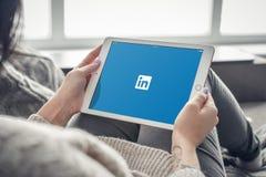 Γυναίκα που χρησιμοποιεί Linkedin app στην ολοκαίνουργια Apple iPad υπέρ Στοκ Εικόνες