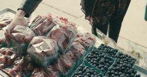 Γυναίκα που ψωνίζει σε μια αγορά αγροτών στην πόλη απόθεμα βίντεο