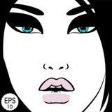 γυναίκα προσώπου s επίσης corel σύρετε το διάνυσμα απεικόνισης Ρεαλιστικά κόκκινα χείλια και κομψά eyelashes Στοκ φωτογραφία με δικαίωμα ελεύθερης χρήσης