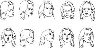 γυναίκα προσώπων s διανυσματική απεικόνιση