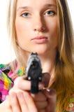 γυναίκα πυροβόλων όπλων στοκ φωτογραφίες