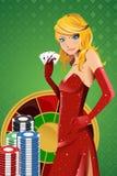 γυναίκα πόκερ διανυσματική απεικόνιση