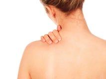 γυναίκα πόνου λαιμών Στοκ Φωτογραφίες