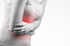 Γυναίκα πόνου στομαχιών Στοκ φωτογραφία με δικαίωμα ελεύθερης χρήσης