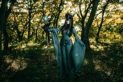Γυναίκα-σαμάνος με τα κέρατα στοκ εικόνες