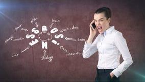 Γυναίκα σε ένα κοστούμι που κραυγάζει στο τηλέφωνο κοντά στον τοίχο με ένα σκίτσο επιχειρησιακής ιδέας που επισύρεται την προσοχή Στοκ Εικόνα