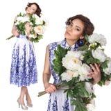 Γυναίκα σε ένα φόρεμα με ένα σχέδιο gzhel Στοκ φωτογραφίες με δικαίωμα ελεύθερης χρήσης