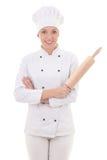 Γυναίκα σε ομοιόμορφο αρχιμαγείρων με την κυλώντας καρφίτσα ψησίματος που απομονώνεται στο λευκό Στοκ Εικόνες