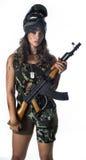 Γυναίκα σε στρατιωτικό Στοκ Εικόνα