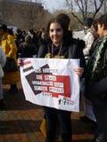 γυναίκα σημαδιών διαμαρτ&ups Στοκ Εικόνες